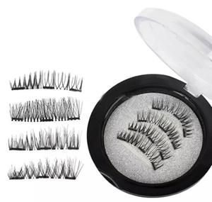 Magnetic Eye Lashes 3D Mink Réutilisable Faux trois / double Magnet Extension de cils Extension de cils 3d Maquillage des cils magnétique DHL Gratuit