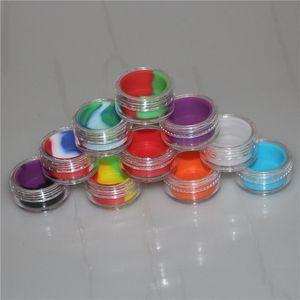 Vaporizador de óleo não vara recipiente de silicone claro 3 ml de plástico dab jarra de armazenamento de cera Shatter de água tubos de vidro acrílico frascos de silicone vape jar