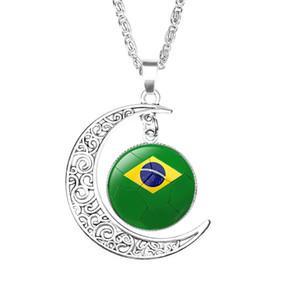 Скидка Мексика футбол ожерелье сувениры,2018 Россия Чемпионат мира по футболу вентилятор ювелирные изделия,мужской национальный флаг футбол время драгоценный камень полумесяц кулон