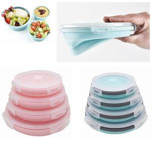4 قطع لطي جولة سيليكون الغذاء تخزين الحاويات مجموعات للطي حفظ الطازجة وعاء الغداء مربع تكويم بينتو صناديق AAA183