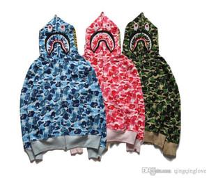 Amantes Hiphop estilo boca de tiburón impresas sudaderas con capucha de camuflaje gris azul camo Cardigan sudaderas con capucha estilo del oeste de gran tamaño sudaderas deportivas tamaño S-XXL