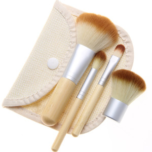 4Pcs Set Kit wooden Makeup Brushes Beautiful Professional Bamboo Elaborate make Up brush Tools With Case zipper bag butt11*3.5cm CS00401