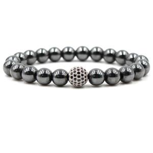 Hematite Magnetic Bracelets 8mm Natural Stone Cubic Zirconia Round Ball Bracelets & Bangles For Women & Men Bracelets Gift