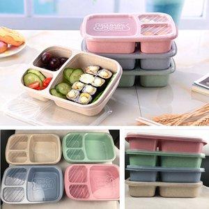 뚜껑 전자 레인지 식품 과일 저장 상자 3 개 그리드 도시락은 컨테이너 식탁 4 개 색상을 설정 꺼내 HH7-382
