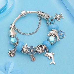 Vintage Silver Dolphin Shell Turtle Pendants Charm Bracelet Blue Flower Crystal Bead Bracelet para hombres Pulseira Masculina