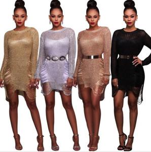 Las mujeres CREWNECK hueco del mini vestido de la playa atractivo general encubrimientos vestidos Mar agujeros cuerpo de vaina vestidos de jersey de punto
