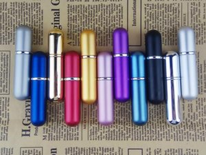 5ML 5CC aluminio pulverizadores botella de perfume del atomizador del perfume frascos de cristal pequeñas botellas vacías recargable del perfume de la fragancia de aceite líquido