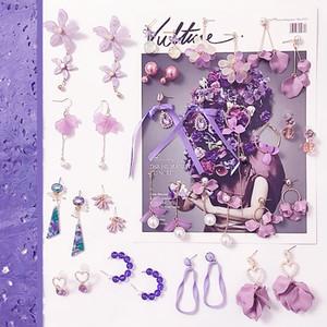 South Korea East Gate New Style Romantic Purple Earrings Asymmetric Tassel Earrings With Sweet Web Celebrity Earrings