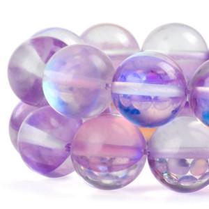 Glänzende runde Mondsteinperlen Licht lila Kristallglas AB mattierte Aura schillernde lose Perlen für Schmuckherstellung 1 Strang 15 Zoll 6-12 mm