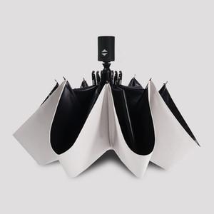 Fashion White Auto Open Auto Close Umbrella Rain Women Men 3 Folding Automatic Umbrella Black Coating Sun Umbrella Mini free shipping