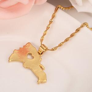 Gold Farbe Dominikanische Halskette Für Männer / Frauen Mode Afrikanische Karte Anhänger Kette Hiphop Tier Schmuck Party geschenke