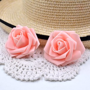 100pcs / Lot artificiel en mousse Rose Fleurs tête pour le mariage décoration de voiture bricolage Garland décorative Fleuristerie 6cm Faux Fleurs Head