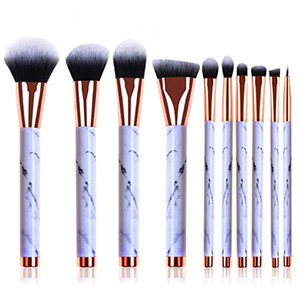 10pcs / Set Pinceles de maquillaje de mármol Corrector profesional Eyeliner Lip Brush Flat Foundation para mujeres herramientas de belleza