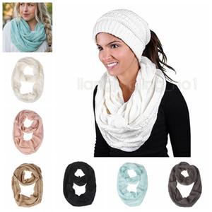 Вязаный шарф шерстяная девушка вязание кольцо теплая петля крючком шарф зима двойной круг подросток шеи круг шарфы обертывания GGA946