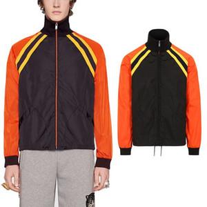 Colorblock jaqueta corta-vento de nylon leve preto / laranja Wear Slim Fit Sun Protective letras impressas Voltar