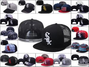 Al por mayor de los White Sox de béisbol del Snapback de los sombreros de las marcas de Hip Hop a cabo puerta sol de la manera barato Flast Bill casquillos del deporte de los hombres ajustables huesos de las mujeres