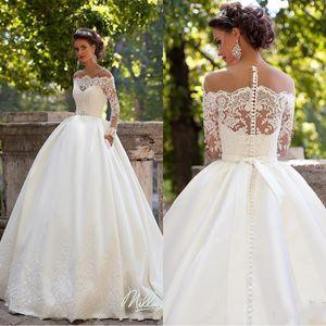 Milla Nova 2020 País vestidos de noiva longos vestidos de casamento mangas pura decote apliques Trem da varredura Cetim Vintage Vestidos De Noiva