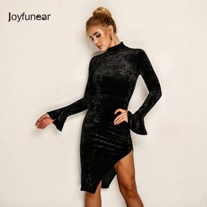 20187 Joyfunear raccomandare Kim Kardashian Dress Vintage Vintage Maniche Abito in velluto Bodycon Dress Dress Turtleneck Laterale Sexy Dress Sexy