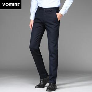 Vomint 2018 New Mens Pants Regular Straight Anti-wrinkle Cotton Elasticity Fabric Trousers Business Suit Pants Male Blue Black