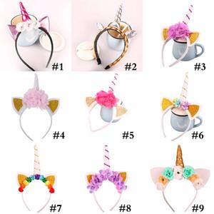 Baby Fashion Unicorn Fascia per feste per bambini Ragazze Chiffon Fiori Hairband Bambini Cosplay Crown Bambini Festa di compleanno Cute Cat Orecchie WX9-405