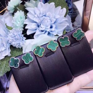 Joyería de plata esterlina de la vendimia famosa Alhambra mágica de cerámica verde trébol de cuatro hojas encanto de la flor del perno prisionero para las mujeres
