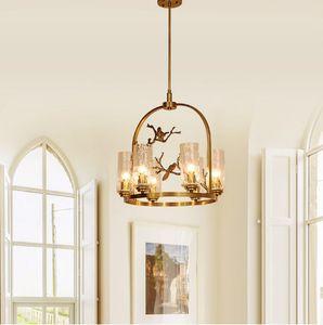 Regron 레트로 스칸디나비아 Innovatiove 포스트 현대 구리 샹들리에 램프 버드 샹들리에 침실 레스토랑 Willa 거실 라운지