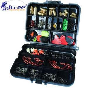 iLure 128 pcs / boîtes Accessoires De Pêche Crochet De Poids Pivotant De Pêche Sinker Stopper Connecteurs Paillettes De Curling De Pêche Tackle Box