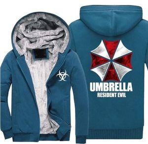 9colour Resident Evil Umbrella corporation LOGO Print Men Hoodies Male Thicken Fleece Zipper Army Camouflage Sweatshirts Coat