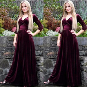 Зима 2018 с длинным рукавом вечерние платья бордовый бархат вечерние платья V шеи линии полная длина элегантный халат де вечер