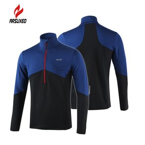 Wholesale-Arsuxeo Long Sleeve Cycling Coat Running Jacket Bicycle Bike Outdoor Spring Summer Sportswear Cloth Zippered Breathable Jacket