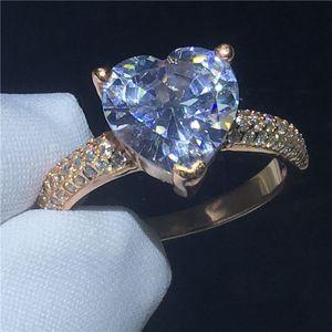 Мода форма сердца кольцо розовое золото заполнены 3t Sona Cz камень обручальное кольцо обручальное кольцо для женщин свадебные украшения