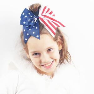 Дети Волосы Луки 7 Дюймов Американские Флаги Звезда Красная Полоса Лук Узел Hairbands Indepence День Аксессуары Для Волос Хвост Держатель Блеск Эластичный