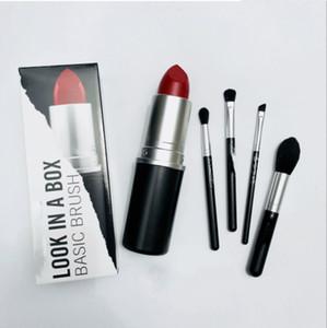 Nouveau look de marque de maquillage chaud dans une boîte brosse de base 4pcs / set brosses avec Big Red Shap Holder titulaire maquillage OUTILS livraison gratuite