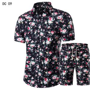2018 New fashion suit and shirt suit, men's shirt + shorts men's summer casual
