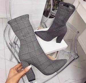 Moda Şemsiye Tasarımcı Kadın Çizmeler 10 CM Tıknaz Topuklu Sivri Burun Ayakkabı Gri Bez Orta Buzağı Şövalye Boot