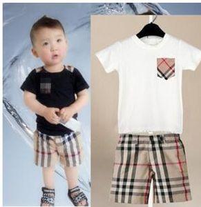 Meninos meninas bebê crianças casuais esportes terno bolso T-shirt + calções xadrez crianças crianças verão terno verão