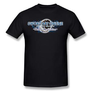 Moda Mens 100% Algodão Espada de Arte Online Oco Realização Camiseta Dos Homens Crewneck Verde Manga Curta Camisetas Grande Tamanho Personalizado Camiseta