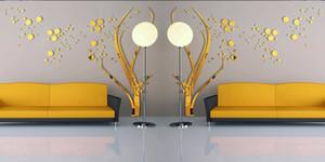 Spedizione gratuita 3D di grandi dimensioni rotonda Dots Tree Wall Stickers Home Decor Living Room Art Background Adesivi specchio acrilico 3D Stickers murali
