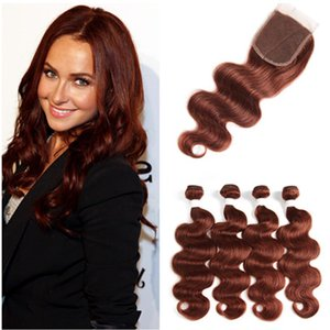 # 33 Dark Auburn Indian Virgin Hair Bundle Deals 4Pcs con 4x4 Lace Front closure pieza Body Wave cobre rojo cabello humano teje