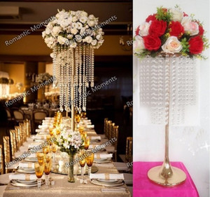 Venta caliente nueva Preciosa mesa 5 Fotos 70cm Tall crystal Flower Stand Wedding Centerpiece Table Chandelier decoration