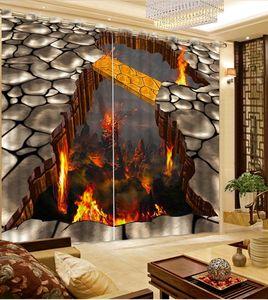Personalizado cortinas blackout para sala de estar Criativa ilha de fogo 3d cortinas 3d cortinas da janela 3d stereoscopic cortina de produtos para casa