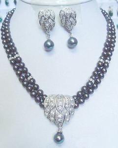 2 filas real Negro Blanco perla cristal plateado del oro de los pendientes pendientes Collar Sistema