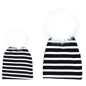 3 colors Parent-child Knitted fabric Hat big pompons cotton cloth cap for baby boys girls and mother cute family pompons hat ins hot