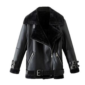 Faux Leather Suede Coat  Black Leather Jacket Winter Warm Lambs Wool Fur Collar Suede Jackets Shearling Coats Women