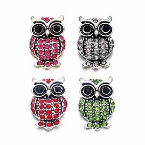Hochwertige Owl w437 18mm 20mm Strass Metallknopf für Druckknopf-Armband-Halsketten-Schmucksachen für Frauen Silberschmuck
