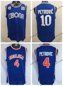 Mens Vintage Croatie # 10 Cibona Drazen Petrovic Maillots De Basketball Pas Cher Drazen Petrovic # 4 Yougoslavie Croatie Chemises Surpiquées