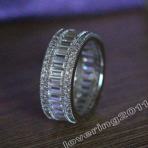 الفاخرة الكامل الأميرة قطع الحجر الماس 10kt الذهب الأبيض شغل الخطوبة الزفاف الفرقة حلقة مجموعة SZ 5-11 هدية