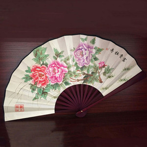 Estilo chinês Flor De Lótus Padrão De Bambu De Seda Dobrável Ventilador de Mão Dos Homens Novos Do Vintage Dobrável de Bolso Fã Partido Favor de Fornecimento