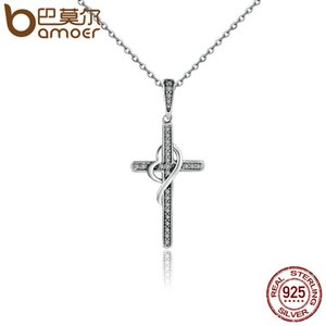 BAMOER New Arrival 925 Sterling Silver Faith In Heart Cross Crystal Women Pendant Necklaces Authentic Silver Jewelry Gift SCN104 C18111301