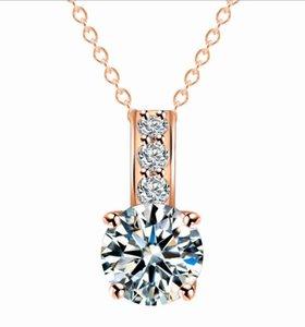 Collar pendiente del Zircon de plata de DHL de las mujeres collar de diamantes colgantes de oro joyería simple para el banquete de boda de la novia de regalo de Navidad Decoración